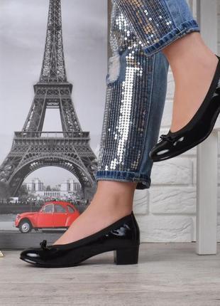 Туфли vices кожаная стелька женские на широком каблуке черные