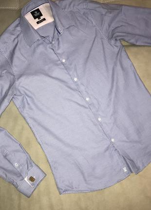 Синяя рубашка,рубашка под запонки,рубашка с длинным рукавом