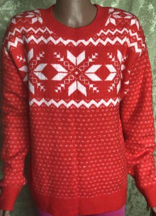 New year :) крассный теплый свитер h&m l.o.g.g. оригинал xs