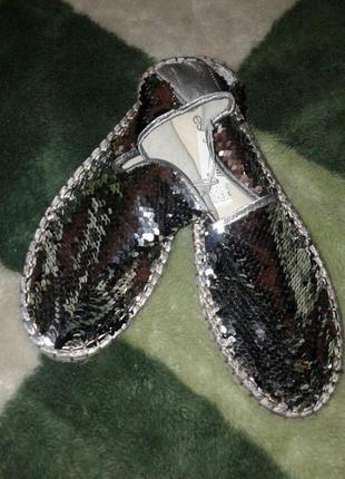 Смелые блестящие эспадрильи для модницы/пайетки - перевертыши