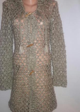 Вязаное ажурное пальто кардиган с капюшоном