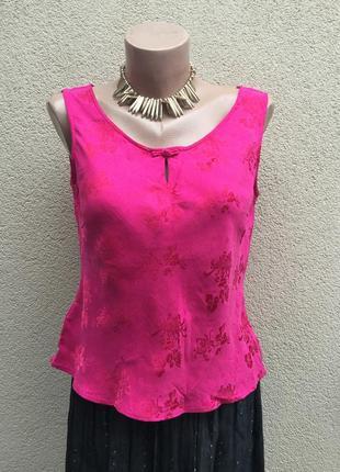 Винтаж,малиновая,шелковая блуза,майка в цветочный принт,этно,восточный стиль