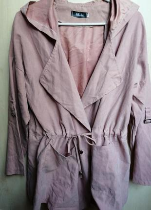 Куртка лёгкая ветровка с капюшоном цвета пыльной розы под замш
