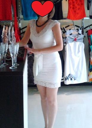 Нарядное гипюровое платье, молочное, kikiriki, s-m