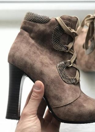 Elmira женские демисезонные замшевые сапожки ботильоны на широком каблуке полусапожки 36р