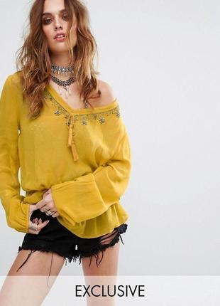 Роскошная шифоновая блуза оверсайз с бисером asos a1032