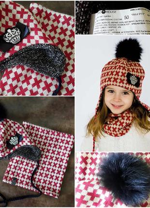 Комплект шапка і снуд від dembohaus на дівчинку 2-4роки