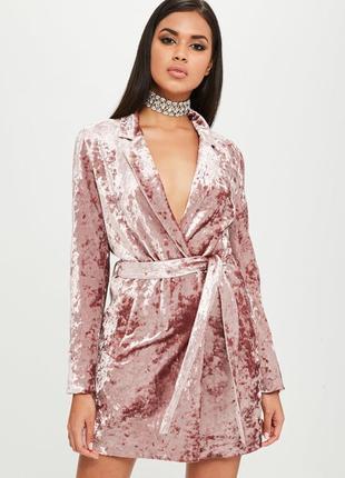 Очень стильное бархатное платье жакет блейзер missguided