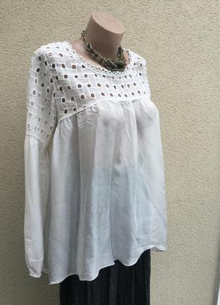 Комбинирован,кружево+шёлк блуза,рубаха,удлиненная спинка,баска,этно,бохо стиль
