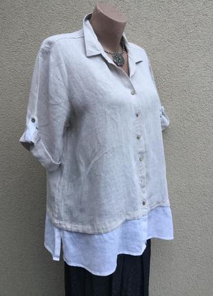 Комбинированная блуза,рубаха,лен,большой размер,этно,бохо стиль,etichetta,италия