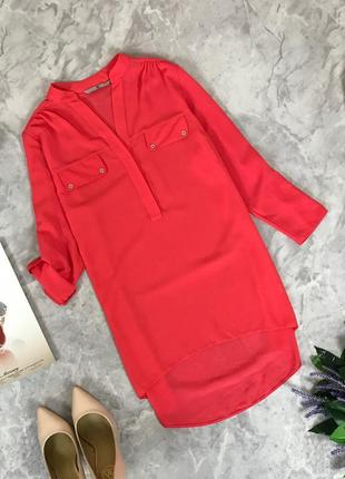 Шифоновая блуза яркого цвета с ассиметричным низом  bl1912018  tu