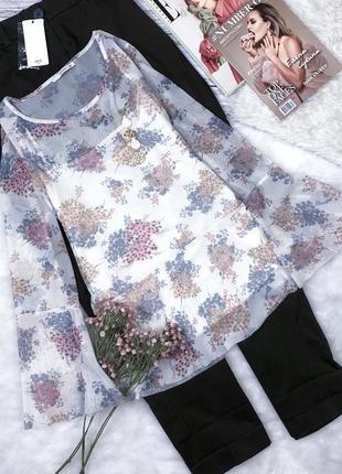 Нежная блуза сетка в цветочный принт