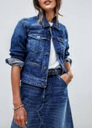 Классная приталенная синяя джинсовая куртка жакет