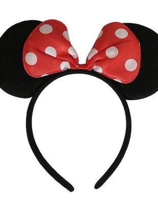 Ободок (обруч) ушки уши минни маус / микки маус / minnie mouse с бантом