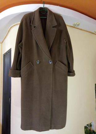 Шертяное  пальто-кокон большой размер,высокий рост,ньюанс,уценка