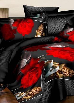 Постельное белье из ранфорса. роза и кофе