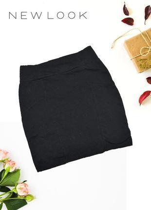 Юбка мини черная по фируге трикотажная genetration y new look