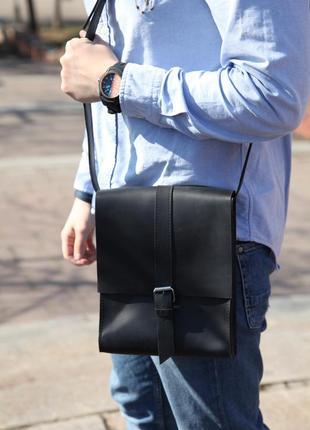 Мужская кожаная сумка через плечо (crazy horse), черная сумка из натуральной кожи