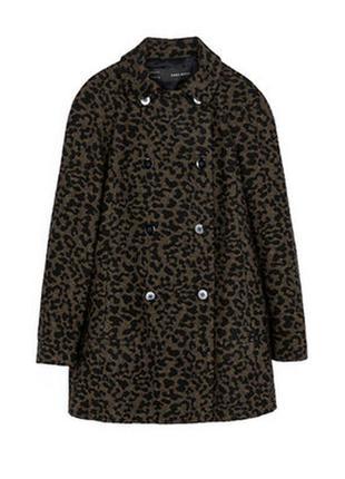 Леопардовое пальто zara, в составе шерсть