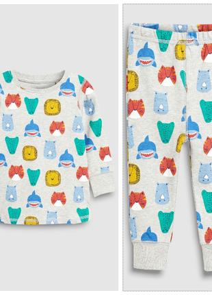 Хлопковая пижама на 4-5 лет (104-110 см) некст с принтом животные next