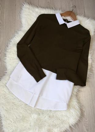 Актуальная стильная рубашка блуза с длинным рукавом, красивая спинка, глубокий цвет хаки