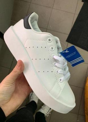 Шикарные женские кроссовки adidas stan smith white platform
