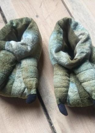 Детские мягусенькие тапочки динозавр крокодил