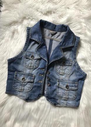 Жилетка джинсовая, с р , накладные карманы