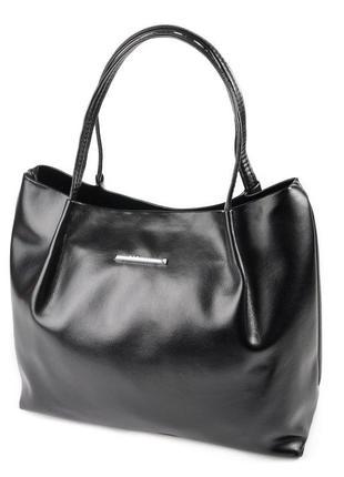Черная глянцевая сумка шоппер с ручками на плечо мягкая