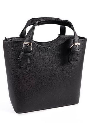 Черная сумка корзинка каркасная с короткими ручками