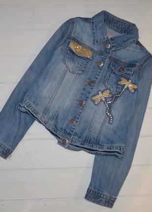 Джинсовый пиджак для девочки 9-10 лет