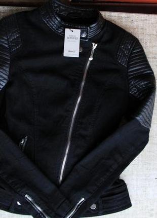 Новая, куртка, косуха, шкірянка, черная, чорна, кожаная, пальто