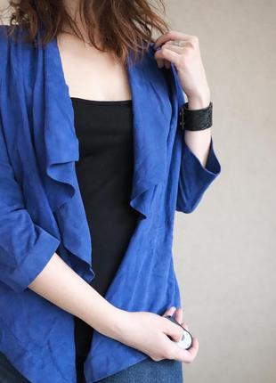 Супер цена!!!  синий кожаный кардиган от uterque