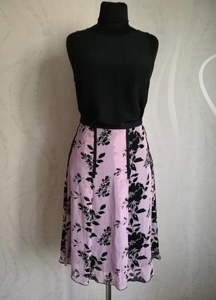 Новая шелковая юбка миди,спідниця шовкова