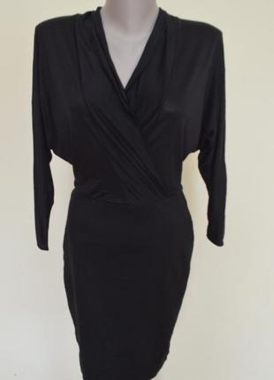 """Шикарное брендовое черное платье рукав """"летучая мышь"""",размер xs"""