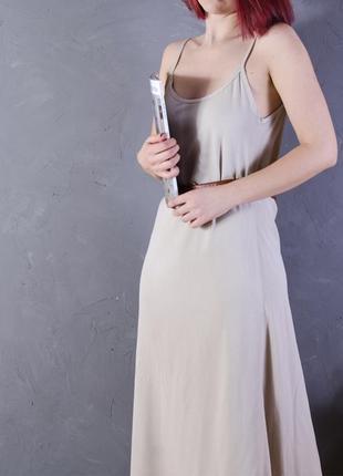 Бежевый сарафан длинный, бежевое платье длинное, летнее платье бежевое marks & spencer2 фото