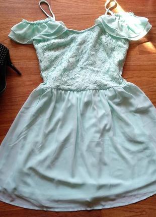 Мятное платье сарафан из легкого шифона, со спущенными плечами, верх гипюровый, s-m 🍃