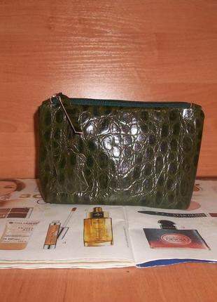 Косметичка в сумку,из натуральной кожи под крокодила.