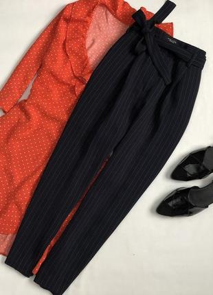 Элегантные брюки в полоску с завязками на талии new look