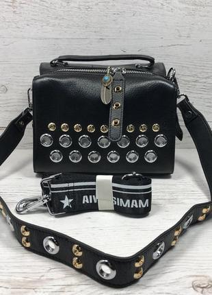Женская стильная кожаная сумка черная бежевая жіноча шкіряна сумка чорна беж