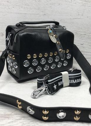 Женская стильная кожаная сумка черная бежевая жіноча шкіряна сумка чорна беж2