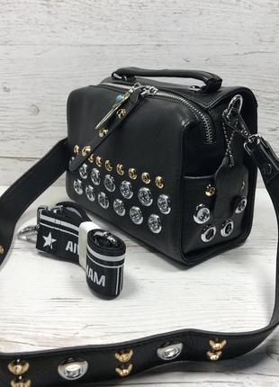 Женская стильная кожаная сумка черная бежевая жіноча шкіряна сумка чорна беж3
