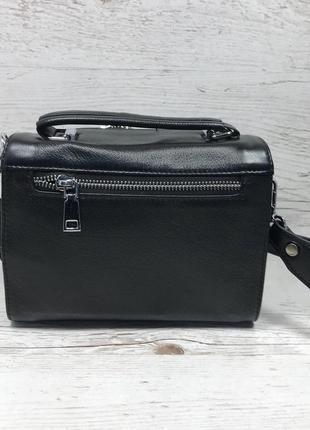 Женская стильная кожаная сумка черная бежевая жіноча шкіряна сумка чорна беж6