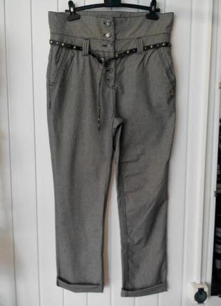 Стильные с высокой посадкой женские брюки бойфренды в мелкую клеточку