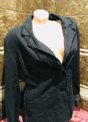 Стильный легкий  жакет с бахромой  из 100% льна с карманами и вышивкой на спине3 фото