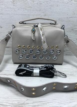 Женская стильная кожаная сумка черная бежевая жіноча шкіряна сумка чорна беж8
