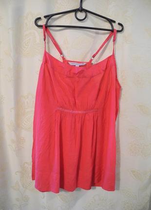 Блуза розовая, майка, топ fat face с шелковой подкладкой, размер m
