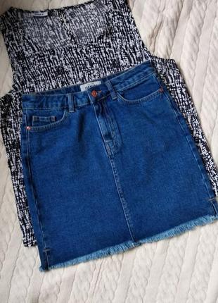 Стильная юбка джинсовая прямая