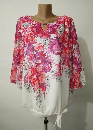 Нежная нарядная блуза большой размер в цветочный принт uk 20/48/,xxxl