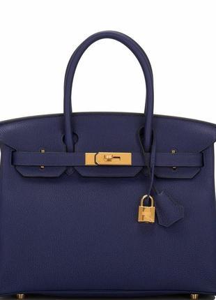 ⛔️брендовая кожаная сумка hermes birkin,⛔️синяя сумочка, красная подкладка ⛔️